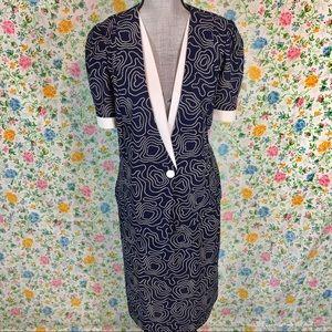 Vintage 70s 80s Skirt Suit Set Blazer Pencil Skirt